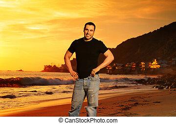 человек, в, пляж