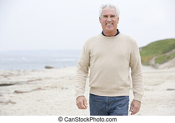 человек, в, , пляж, улыбается