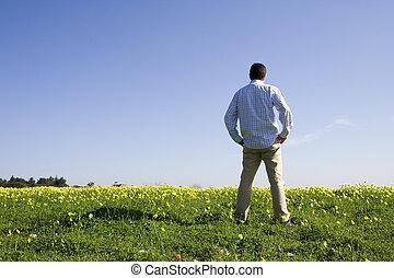 человек, в, , поле