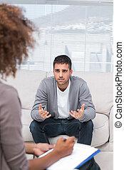 человек, говорящий, к, , терапевт