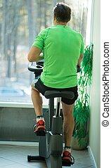 человек, дела, упражнение, на, байк, в, , фитнес, клуб