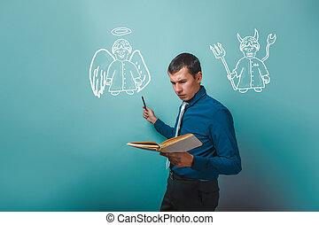 человек, держа, , книга, показ, an, ангел, and, дьявол, демон, infographics