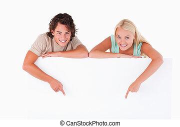 человек, милый, женщина, pointing, белая доска
