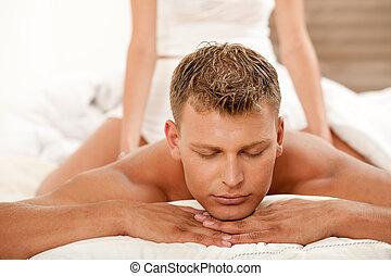 человек, молодой, массаж, получение