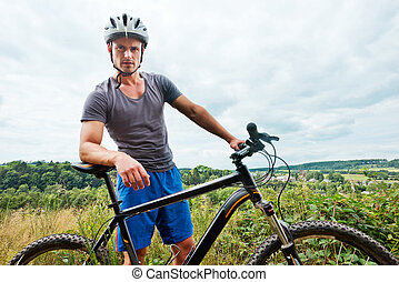 человек, на, велосипед