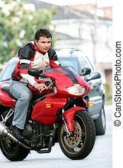 человек, на, , красный, велосипед