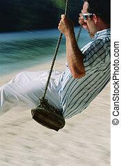 человек, на, свинг, в, пляж
