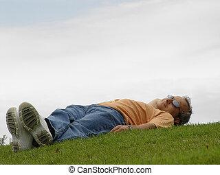 человек, на, , трава