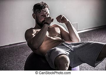 человек, на, упражнение, мяч