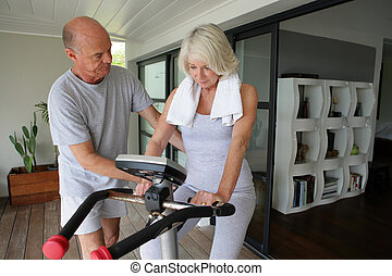 человек, помощь, his, жена, использование, упражнение,...