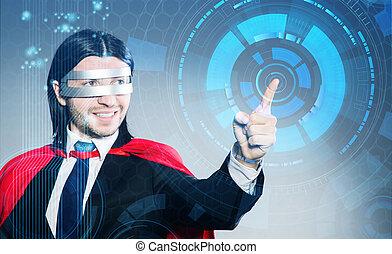 человек, прессование, виртуальный, buttons, в, футуристический, концепция