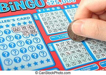 человек, рука, является, scratching, , лотерея, билет