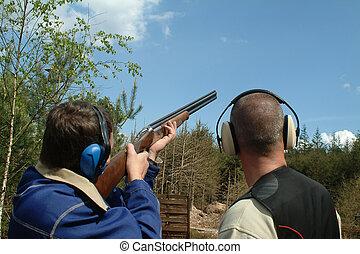 человек, стрельба, глина, pigeons, являющийся,...