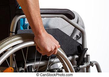 человек, с помощью, his, инвалидная коляска