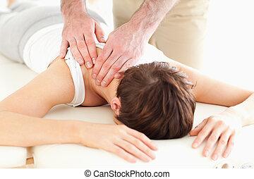 человек, шея, massaging, woman's