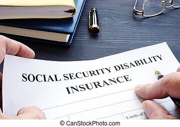 человек, является, держа, социальное, безопасность, disability, страхование, ssdi, policy.