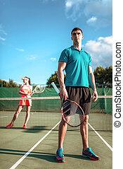 человек, and, женщина, игры, большой теннис, на открытом...