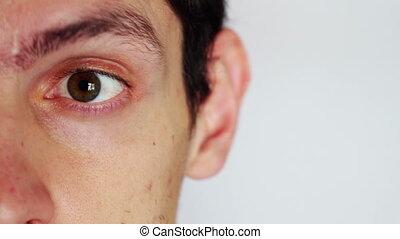 человек, emotions., , man's, лицо, закрыть, depicting,...