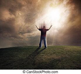человек, his, arms, lifting, вверх