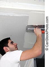человек, plastering, потолок