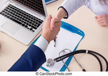 человек, signing, медицинская, страхование, контракт