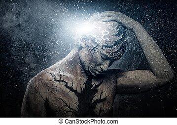 человек, with, концептуальный, духовный, тело, изобразительное искусство