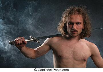 человек, with, меч, в, дым