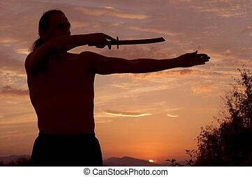 человек, with, меч