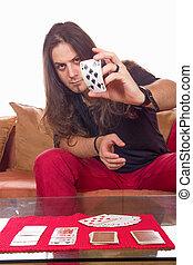 человек, with, , палуба, of, cards, на, , таблица