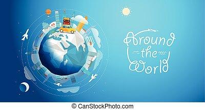 через, вектор, мир, car., тур, путешествовать, иллюстрация, концепция