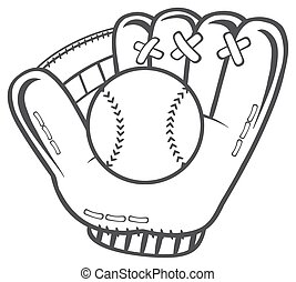черный, белый, бейсбол, перчатка