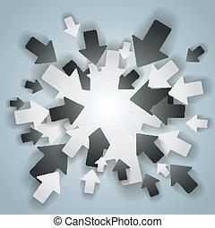 черный, белый, arrows, центр