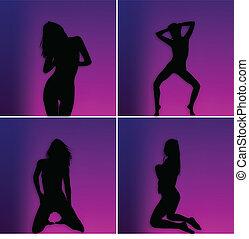 черный, женщины, silhouettes, of, illustra