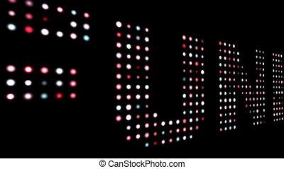 черный, испуг, текст, над, красочный, светодиод