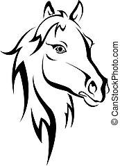 черный, лошадь, силуэт