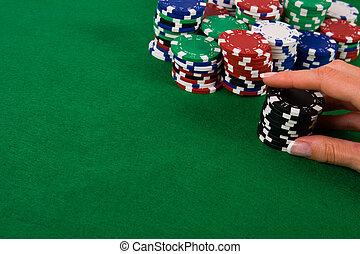 черный, покер, чипсы