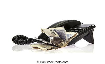 черный, телефон, with, стек, of, деньги