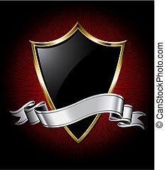 черный, щит, лента, серебряный