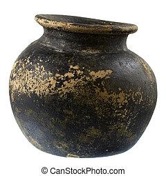 черный, and, коричневый, глина, растение, горшок