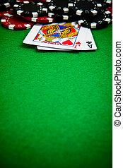 черный, and, красный, покер, чипсы, with, cards, в, , задний план