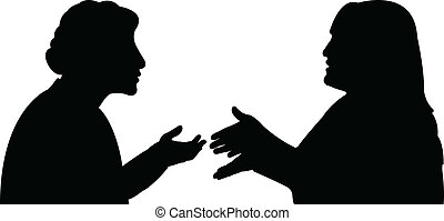черный, silhouettes, of, два, женщины
