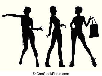 черный, silhouettes, of, красивая, женщины