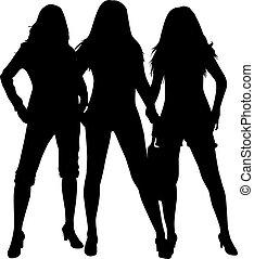 черный, silhouettes, of, три, women.