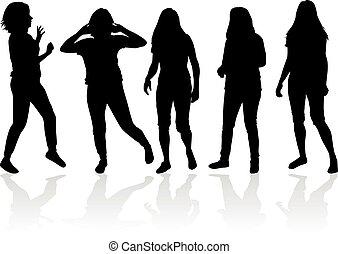 черный, silhouettes, of, women.