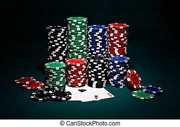 чипсы, для, покер, with, пара, of, aces