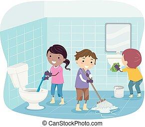 чистый, иллюстрация, туалет, stickman, kids
