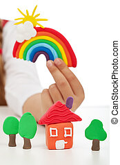 чистый, окружающая среда, концепция, -, ребенок, рука,...
