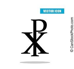 чи, ро, символ, with, падение, shadow., christogram., labarum, значок, isolated, на, белый