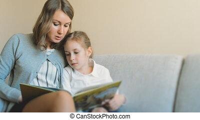 чтение, дочь, book., мама