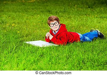 чтение, на, , газон